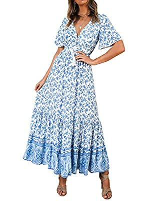 Material: Cotton/Polyester (Soft Fabric for Summer) Featuring a V Button up Neckline, Short sleeves, and Elasticated Waist Line with a drawstring Beautiful Floral Print Flowy Dress with a Ruffle Hemline, Midi Length Hand Wash Cold Recommended and Do ...