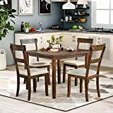 P PURLOVE 5 Piece Dining Table Set Rustic Wood Kitchen Table and 4 Chairs 5 Piece Wooden Dining Set for Kitchen Dining Room (American Walnut)