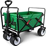 BEAU JARDIN Folding Wagon Cart 300 Pound Capacity Collapsible Utility Camping Grocery Canvas Sturdy Portable Rolling Lightweight Outdoor Garden Sports Heavy Duty Shopping Wide All Terrain Beach Wheel