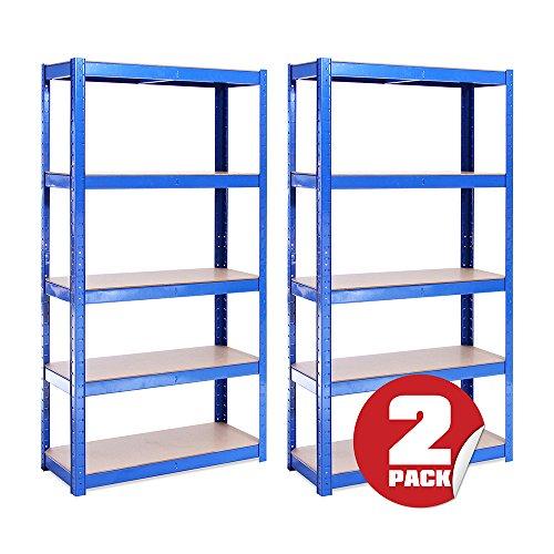 G-Rack 20 Scaffale Garage(2 Pezzi) Scaffalatura 150cmx75cmx30cm Blu 5 (175kg a Ripiano) capacit...