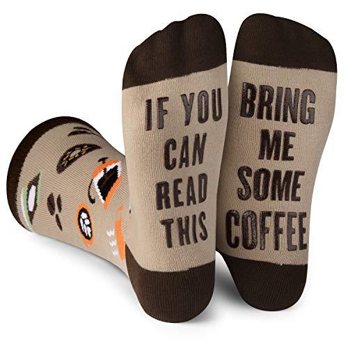 Lavley Socken mit Aufschrift If You Can Read This Bring Me -  Braun -  Einheitsgröße