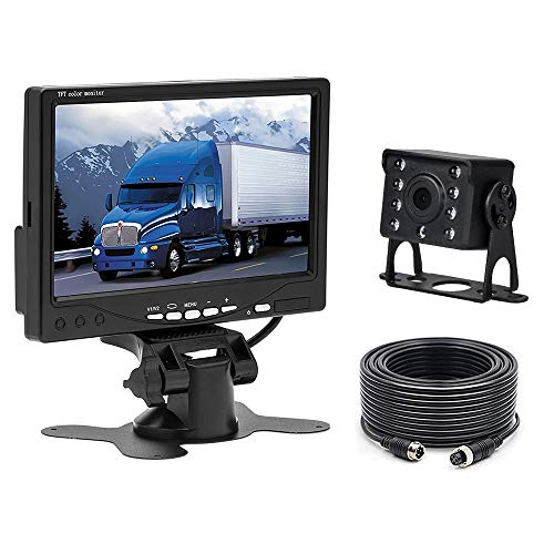 Camecho 12 V - 24 V auto telecamera retromarcia impermeabile visione notturna telecamera posteriore cablato sistema kit + 17,8 cm LCD monitor per Bus/camion/Van/RV/camper
