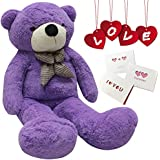 Happy Island Big Cute Plush Teddy Bear Huge Plush Animals Teddy Bear Girl Children Girlfriend Valentine's Day White 160cm (Purple, 63 inch)
