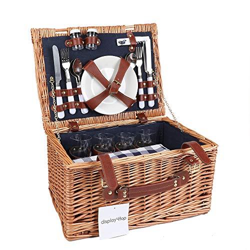Display4top Deluxe 4 Personen Traditional Wicker Picknickkorb Wicker Hamper - Premium Set mit Tellern, Weingläsern, Besteck und Servietten (Blau)