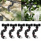 CozyCabin 360° Adjustable Mist Cooling System Nozzles Water Sprayers Connectors, Stainless Steel Adjustable Misting Nozzles for Pets Reptiles Ecological Garden Patio Greenhouse, 5PCS