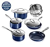 Granite Stone Diamond Granite Stone Classic Blue Pots and Pans Set with Ultra Nonstick Durable Mineral & Diamond Triple Coated Surface, Stainless Steel Stay Cool Handles, 10 Piece Cookware