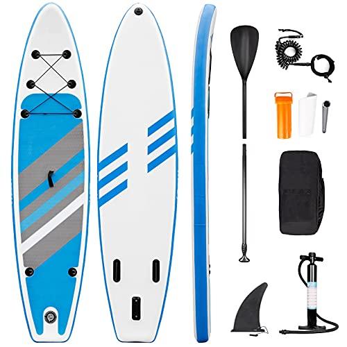 Planche de Stand Up Paddle Board Gonflable, Sup Paddle avec Pompe à Double Action, Pagaie, Laisse, Boîte de Réparation, Aileron, Sac de Transport (RY-307)