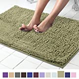ITSOFT Non Slip Shaggy Chenille Soft Microfibers Bath Mat for Bathroom Rug Water Absorbent Carpet, Machine Washable, 21 x 34 Inches Sage Green