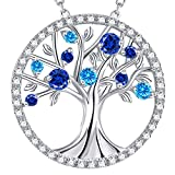 GinoMay Blue Sapphire Necklace Women Birthday Gifts September Birthstone Jewellery Wife Tree of Life Necklace Mum Blue Topaz Sterling Silver