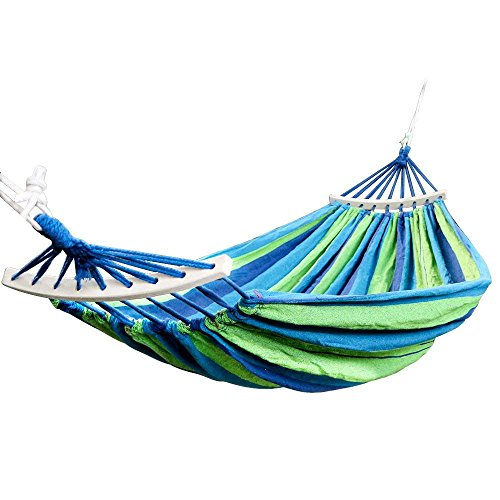 Baskety Double 2 Person Cotton Fabric Canvas Travel Hammocks 450lbs Ultralight Camping Hammock Portable Beach Swing Bed with Hardwood(Wooden) (280 * 100cm, Blue)