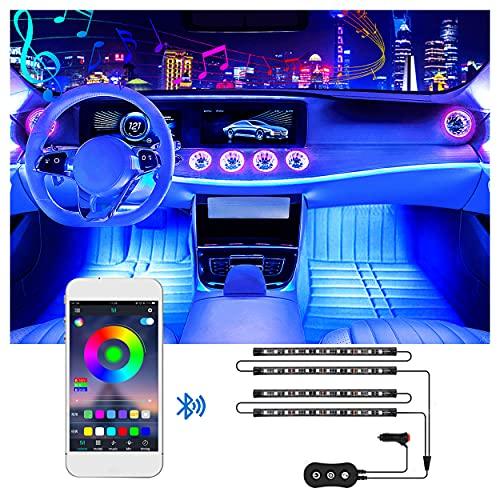 Striscia LED Auto Con App,Smart Bluetooth Usb LED Auto Interni,Luci LED Per Auto Interne Con 48 LEDs, Multicolore Impermeabile,Controllo App, Dc 12V,[Classe Di Efficienza Energetica A+]