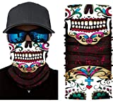 Day of the Dead / Sugar Skull Neck Gaiter, Bandana, Face Mask, Head Scarf, Sweatband, Tube Scarf, Helmet Liner, Wristband Offering Protection Against Sun, Wind and Dust.