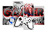 HNBDH Impressions sur Toile Designs Gamer Computer Controller Gaming 4 Pièce Impression sur Toile...