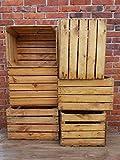 Lot de 6 caisses à fruits vintage en bois massif et solide pour décoration d'intérieur