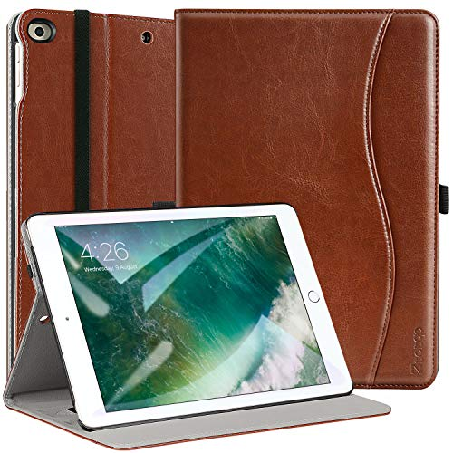 Ztotop Case for New IPad 9.7 Inch 2018/2017 Case,Premium PU Leather Business Slim Folding Stand Folio Cover with Auto Wake/Sleep for iPad 6th Generation/5th Generation, Brown