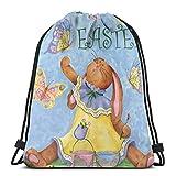 GeorgoaKunk Mochila con cordón Happy Easter Bunny 01 Bolsa de Hilo con Estampado 3D Mochila Cinch Bolsas de Mano Regalos para Mujeres Hombres Gimnasio Compras Deporte Yoga