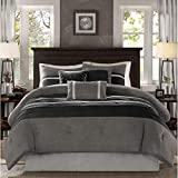 D&H 7 Piece Slate Grey Black Patchwork Comforter Queen Set, Gray Adult Bedding Master Bedroom Modern Stylish Pintuck Pattern Color Block Elegant Themed Traditional Microsuede Polyester Stripe