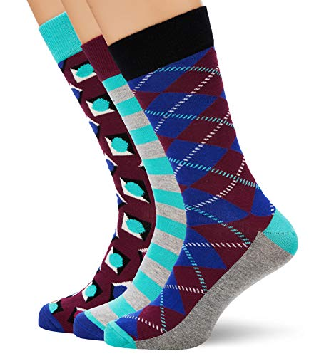 HS by Happy Socks Hs Argyle 3-Pack Socks, Calzini Uomo, Multicolore (Multicolour 550), 41-44 EU
