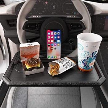 OHMOTOR Steering Wheel Tray,Car Table Steering Wheel Desk,Car Tray for Laptop Writing Dining Drink Food Work,Fits Most Vehicles Steering Wheels-Black