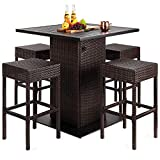 Best Choice Products 5-Piece Outdoor Wicker Bar Table Set for Patio, Poolside, Backyard w/Built-in Bottle Opener, Hidden Storage Shelf, Metal Tabletop, 4 Stools - Brown