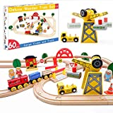 Tiny Land Circuit Train Enfant,Grue et Trains et véhicules & Rails Pack(60 pcs)