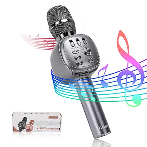 NINE CUBE Wireless Bluetooth Karaoke Microphone,3-in-1 Portable Handheld Karaoke Mic, Karaoke Player,Colorful LED Light, Gift for Friends and Kids, Compatible with All Smart Digital Products (Gray)