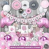 Premium Jumbo Elephant Baby Shower Decorations for Girls Kit | It's A Girl | Banner, Napkins, Straws, Paper Lanterns, Honeycomb Balls, Fans, Cake Toppers, Sash, Balloons, | Pink Grey White