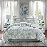 Comfort Spaces Kashmir 8 Piece Comforter Set Hypoallergenic Microfiber Lightweight All Season Paisley Print Bedding, King, Soft Blue