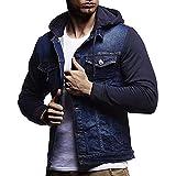 iHENGH Automne Hiver Veste À Capuche Vintage en Denim Veste en Denim Tops Manteau Outwear (FR-56/CN-XL, Bleu)