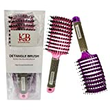 brosse cheveux ,poil de sanglier 100% naturel, Meilleure pour démêlage de cheveux épais et démêlant pour séchage plus rapide ,2 brosse couleur violet et rose,une brosse magique