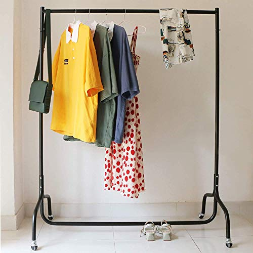ADA Metal Heavy Duty Black Clothes Rail Rack with Wheels for Hanging Clothes - 4 ft