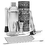 Cocktail Shaker Kit + Livre Cocktail + d'Accessoires Professionnel, Inox Qualité Extra | Ensembles de Bar: Cuillère à Mélange, Pilon Jigger Paille| Gin Mojito Martini Set, Fête Cadeau Femme Homme