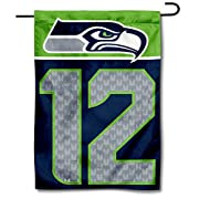 """12.5"""" x 18"""" in Size with Top Pole Sleeve for hanging from your Garden Flag Stand (Stands Sold Separately) Made of Double Sided 2-Ply 100% Polyester with Sewn-In Liner, Double Stitched Perimeter Sewing, Imported Seattle Seahawks Logos are Screen Print..."""