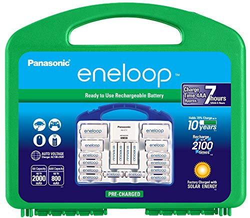 Panasonic K-KJ17MC124A eneloop Super Power Pack 12AA, 4AAA, 2 C Adapters, 2 D Adapters, Advanced Individual Battery Charger and Plastic Storage, (Case Color May Vary)