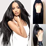 Chantiche Silky Straight 360 Lace Frontal Wig Pre Plucked-180% Density 360 Human Hair Wigs with Baby Hair Brazilian Remy Virgin Human Lace Wig for Black Women 16inches Natural Color