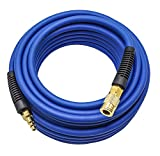 YOTOO Hybrid Air Hose 1/4-Inch by 50-Feet 300 PSI Heavy Duty, Lightweight, Kink Resistant, All-Weather Flexibility with 1/4-Inch Industrial Quick Coupler Fittings, Bend Restrictors, Blue