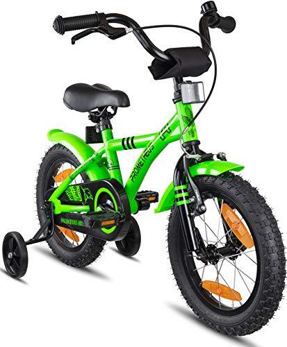 Prometheus kinderfiets   14 Inch   Jongens en Meisjes   Groen/Zwart   Vanaf 4 jaar met zijwieltjes   BMX Model 2019