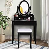 Giantex Vanity Set with Oval Mirror and Cushioned Stool, Makeup Dressing Table with 3 Drawers, Modern Bathroom Bedroom Makeup Organizer Vanity Table for Women Girls Gifts, Black