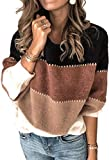 Angashion Women's Sweaters Casual Long Sleeve Crewneck Color Block Patchwork Pullover Knit Sweater...