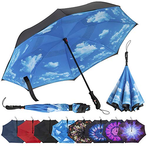 Repel Umbrella Reverse Folding Inverted Umbrella with 2 Layered Teflon Canopy and Reinforced Fiberglass Ribs, Golf Umbrella (Blue Sky)