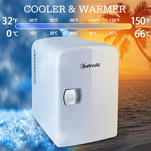 AstroAI Mini Fridge 4 Liter/6 Can AC/DC Portable Thermoelectric Cooler and Warmer for Skincare, Foods, Medications, Home and Travel, White 4