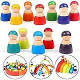 Lewo 12 Stück Holz Kleinkind Spielzeug Regenbogen Holzpuppen Peg Dolls Holzfiguren Peg Puppen Holzspielzeug Kinderspielzeug ab 1 2 3 Jahr Jungen Mädchen Kinder