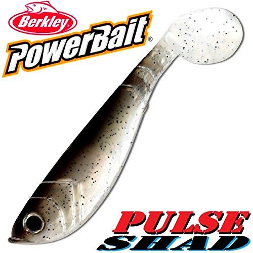 Berkley, Set da 3 pezzi di esche in gomma Power Bait Pulse Shad, a forma di pesce, 14 cm, colore: naturale