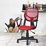 Geniqua Red Mesh Office Chair Ergonomic Back Support Mid-Back Home Computer Chair Swivel Adjustable Task Chair, for Home Office