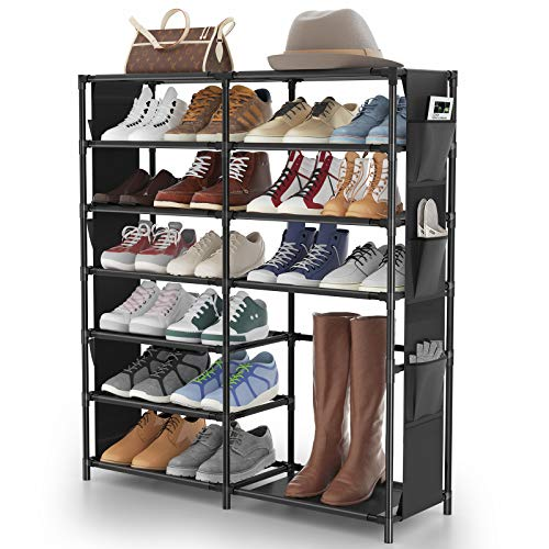 7-Tier Shoe Rack Shoe Shelf Organizer, JOMARTO 24-30 Pairs Shoes and Boots Storage Organizer Metal Shoe Tower with...