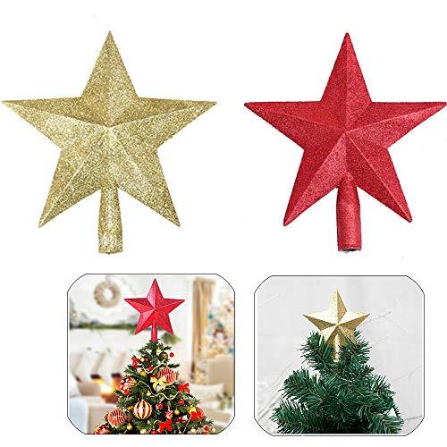 Sqxaldm Copa Árbol Estrella Brillante Árbol navideño Estrella Superior Árbol Navidad Adornos Estrella Brillante Brillo Estrella Árbol Topper Estrella Brillante Navidad Parte Superior Árbol(2 Piezas)