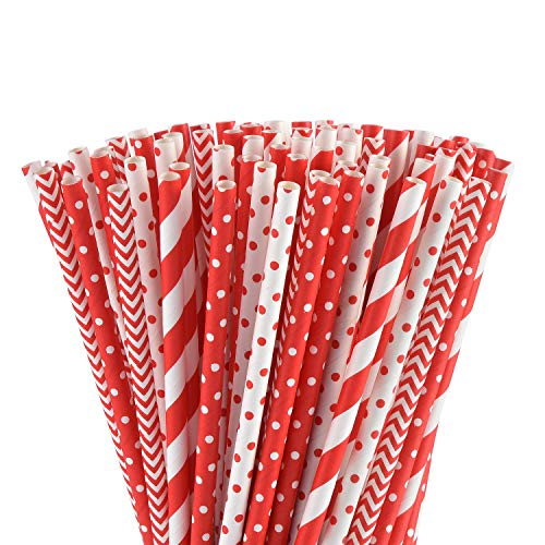 ALINK Biodegradable Red Paper Straws Bulk - 100 Dots/Stripes/Waves Straws for Beverage, Christmas, Holiday, Birthday, Wedding, Baby/Bridal Shower, Party and Decoration