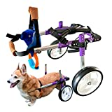 HiHydro Dog Wheelchair Lightweight Adjustable Pet Wheelchair with 2 Wheels for Back Legs Rehabilitation Protect Spin-Purple S