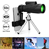 Monocular Telescope, 12X50 HD Low Night Vision Waterproof- Shockproof High Power and Phone Adapter, Tripod Holder for Bird Watching Hunting Camping Hiking Travelling Secen[Best Telescope 2020]