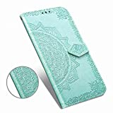Luxury PU Leather Wallet Case Compatible with iPhone 11 (6.1') 2019,Mandala Flower Floral Embossed [Kickstand Feature] Flip Folio Cover Magnetic Clasps with [Card Slots],[Note Pockets]-Teal